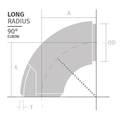 Geschweißte Bögen aus Edelstahl hohe Temperaturen Era Fittings LONG-RADIUS